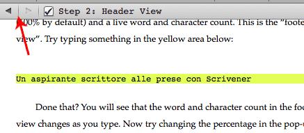 Scrivener guida italiano: header view - spostarsi tra i vari documenti