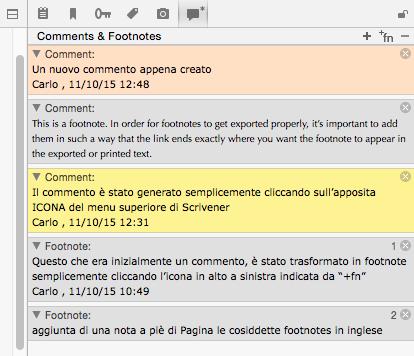 Scrivener guida italiano: inspector – seconda parte (7) - Comments & Footnotes