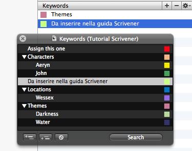 Scrivener guida italiano: inspector – seconda parte (7) - Keywords